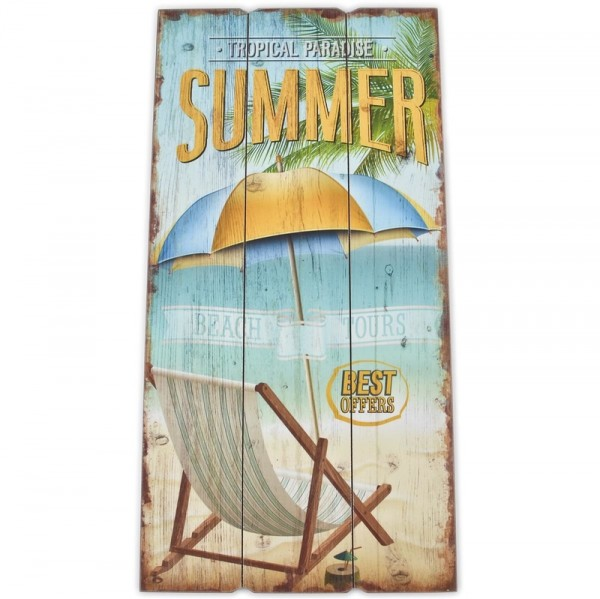 Schild aus Holz TROPICAL BEACH SUMMER Design
